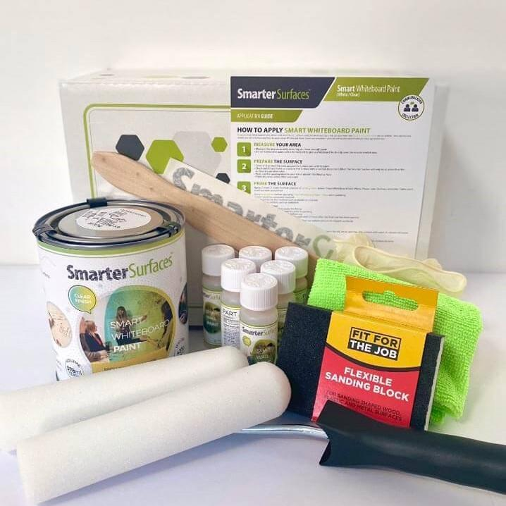Smart Whiteboard Paint Clear full kit contents and application guide