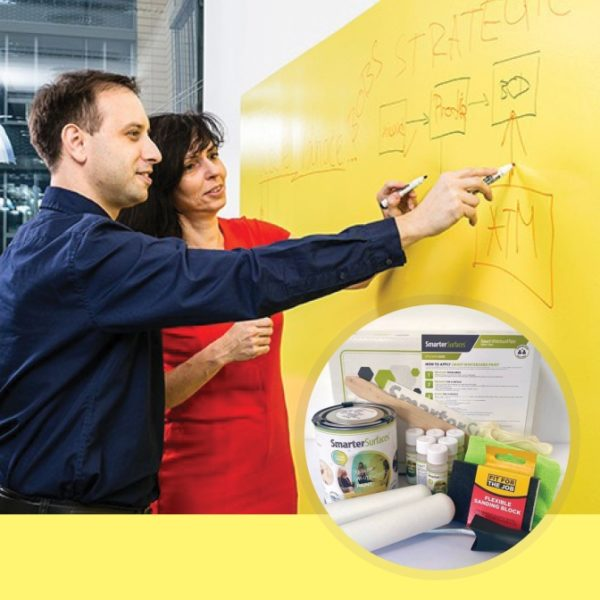 Smart-Whiteboard-Paint-Clear-product-in-use-and-kit-image