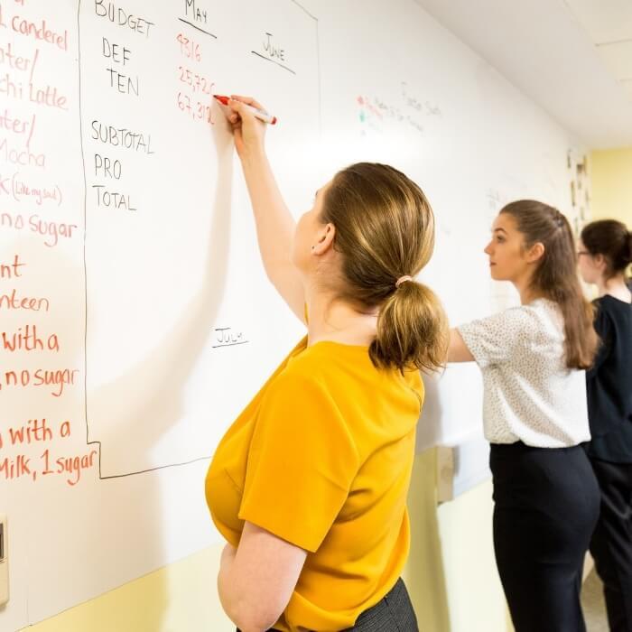 Group of women writing on Smart Magnetic Whiteboard Wallpaper