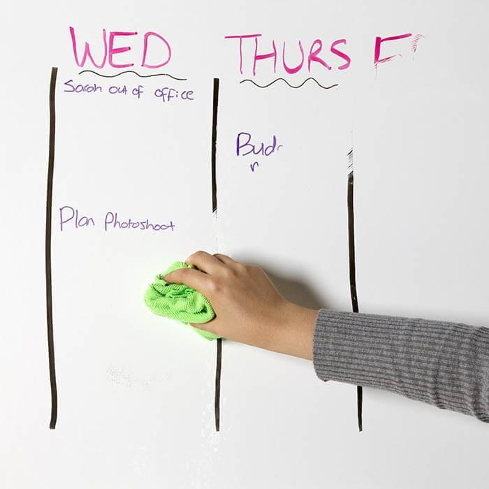 Wiping marker off of Smart Self Adhesive dry erase Film Low Sheen